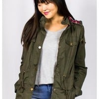 Plaid Lined Cargo Jacket in Olive