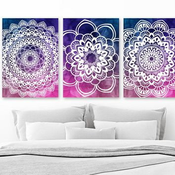 Watercolor Mandala Wall Art, Watercolor Ombre Art, Canvas or Prints, OMBRE Decor, Bedroom Wall Decor, Purple Navy Bathroom Decor, Set of 3