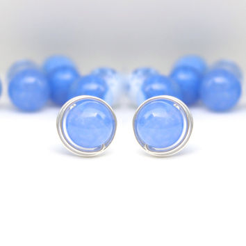 Blue Sterling Silver Stud Earrings