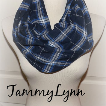 Navy Royal Blue Flannel Plaid Check Shirting Infinity Scarf Fall Winter Christmas Women's Accessories