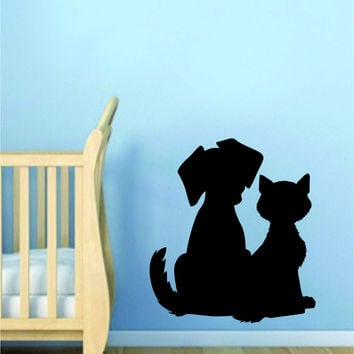Dog and Cat Silhouette Wall Decal Sticker Room Art Vinyl Beautiful Animal Shelter Pet Rescue Vet Paw Print Love Puppy Kitty