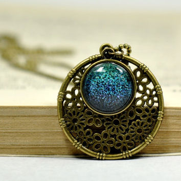 Ombre Emeral Green Statement Necklace, Filigree Glass Dome Pendant