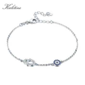 Kaletine 925 Sterling Silver Hamsa Hand Evil Eye Charm Bracelet Turkey Good Luck Blue Eyes Chain Link Bracelets For Women 2018
