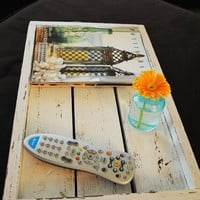Distressed White Decorative Tray