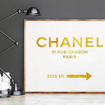 GOLD COCO CHANEL Quote,Office Decor,Home Decor,Girls Room Deco,Typography PosterFashion Print,Chanel 31 Rue Cambon,Fashion Decor,Fashionista