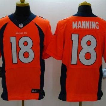 ICIKU3N Nike Broncos #18 Peyton Manning Orange Team Color Men's Stitched NFL New Elite Jersey