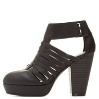 Qupid Strappy Chunky Heel Booties by
