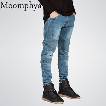 Mens jeans Skinny  Distressed slim elastic denim Biker jeans