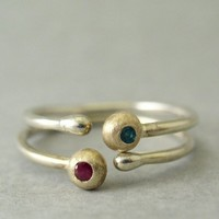 Ruby and Emerald Stackable Rings