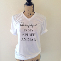 Champagne is My Spirit Animal Tank Top in White - Womens Tank Tops - Party Summer Tops - Bachelorette Tops - Beach Tank Tops