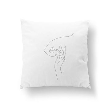 Hand On Face Pillow, Abstract Female Face, Beauty Decor, Bed Pillow, Home Decor, Black And White, Woman Art, Cushion Cover, Throw Pillow