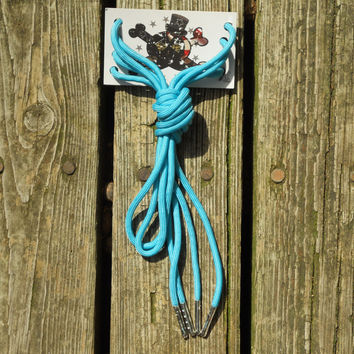 Ocean Blue Paracord Shoelaces/ Silver Aglet by American Anarchy Brand