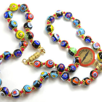 Antique RARE VENETIAN Murano Millefiori Art Glass Bead Necklace