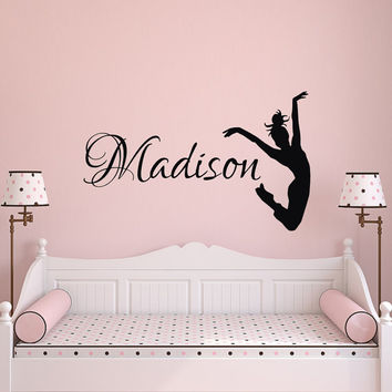 Dance Name Wall Decal- Dance Wall Decal- Girl Name Wall Decal Girls Bedroom Decor- Personalized Girls Dance Wall Decal Dancer Silhouette 091