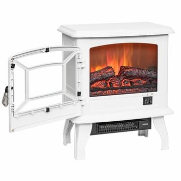 "AKDY FP0080 17"" White Freestanding Portable Electric Fireplace 3D Flames Firebox w/ Logs Heater 