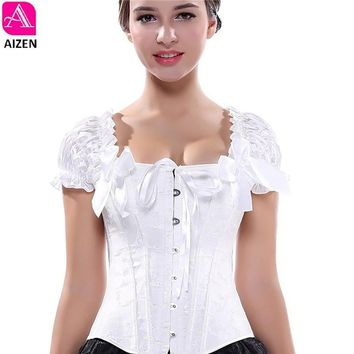 AIZEN corsets bustiers tops clothing black white overbust gothic corsets with straps vest halter sexy  bridal corselet ladies