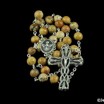 Anglican Rosary Picture Jasper Prayer Beads Silver Christian Blue Green Natural Stone Gemstone