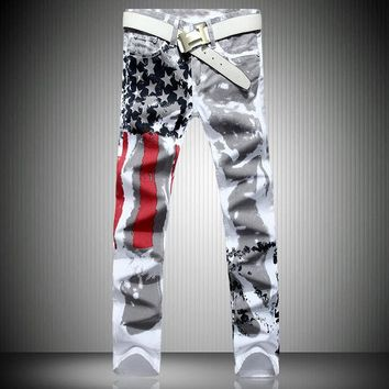 Big Size 28-42 Brand Men's Pants New White Printed Fashion Men Jeans Slim Stretch Printing American Flag Trousers Hombre