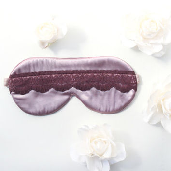 Lilac Satin Sleep Mask, Burgundy Lace Sleep Mask, Violet Eye Mask, Satin Mask, Woman Sleep Mask, Lavender Sleep Mask