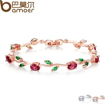 Red + Green AAA Zircon Roses 18 K Rose Gold Plated Tennis Bracelet