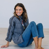 Dolman Quilted Jacket in Carbon - cladandcloth