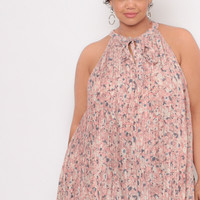 Plus Size Floral Accordian Pleat Tunic Top - Blush