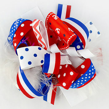 4th of July Multiprint Feathered Boutique Bow