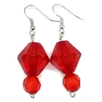 Red Bicone and Faceted Round Beaded Earrings