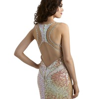 Sequin Racer Back Iridescent Evening or Prom Dress 2318