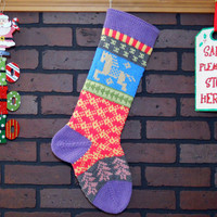 Hand Knit Christmas Stocking, Fair Isle Stocking with Lavender Cuff and Heather Horse, Can be Personalized, Housewarming/ Wedding/ Baby Gift