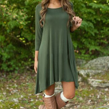 Army Green Sleeve Asymmetrical Dress