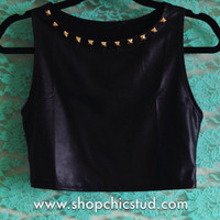Studded Crop Top Racerback Tank - Black Faux Leather - Silver or Gold Circular Studs