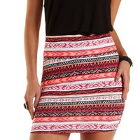 Coral Neon Tribal Bodycon Mini Skirt by Charlotte Russe