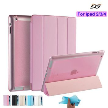 For ipad 4 Ipad 2 Case Leather Case Soft TPU Back Trifold Smart Cover Shockproof Protective Case for iPad 2/3/4+Film+Stylus