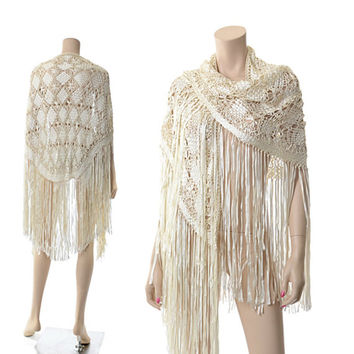 Vintage Ivory Ribbon Crochet Fringe Shawl 80s 20s Deco Wrap Cut Out Fringe Jacket Piano Shawl