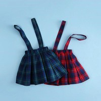 Girls Plaid Suspender  Skirt