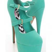 Sea Green Faux Leather Double Strapped Maryjane Platform Heels @ Amiclubwear Heel Shoes online store sales:Stiletto Heel Shoes,High Heel Pumps,Womens High Heel Shoes,Prom Shoes,Summer Shoes,Spring Shoes,Spool Heel,Womens Dress Shoes,Prom Heels,Prom Pumps,