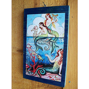 retro mermaid print vintage pin up girl wall hanging rockabilly nautical kitsch