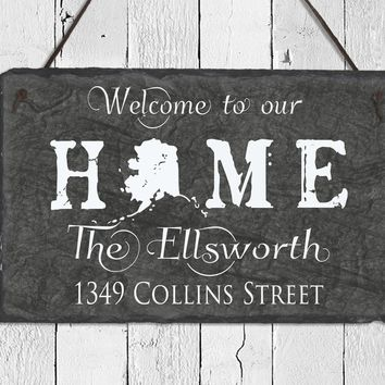 Handmade and Customizable Slate Home Sign - Personalized with Name, Address, State
