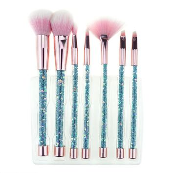 Bling 7PCS Aquarium Liquid Glitter Brush Set Mermaid Makeup Brushes Pincel Kit Portable Eyebrow Eyeshadow Brush Set Makeup Tools