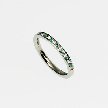 Platinum wedding band, blue diamond ring, half eternity ring, thin diamond ring, unique wedding band, blue, engagement, platinum eternity