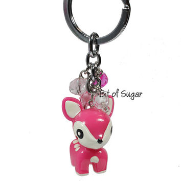 Kawaii Pink Deer Keychain - Cute doe animal keyring with spots and white tipped tail