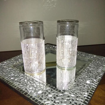 Silver Rhinestone Convertible Vase or Candle Holder