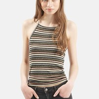 Women's Topshop Metallic Halter Top,