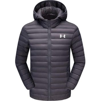Under Armour Fashion Loose Print Men Cardigan Jacket Coat Windbreaker Hoodie Dark Grey