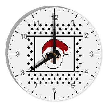 """Cool Santa Christmas Sweater 8"""" Round Wall Clock with Numbers"""