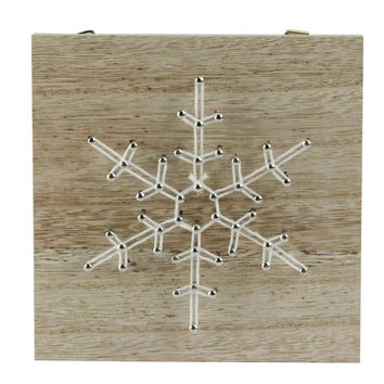 "5.5"" ""Crazy String"" Natural Finished Wood and White String Snowflake Wall Decoration"