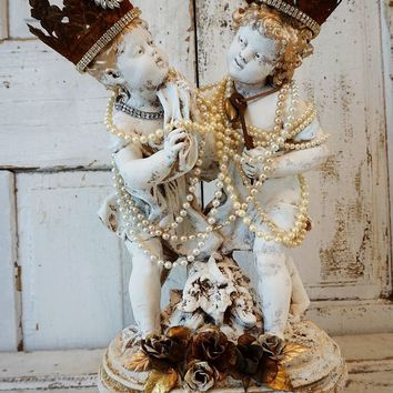 Vintage chalkware statue of boy and girl rustic farmhouse handmade crowns embellished in pearl necklaces home decor