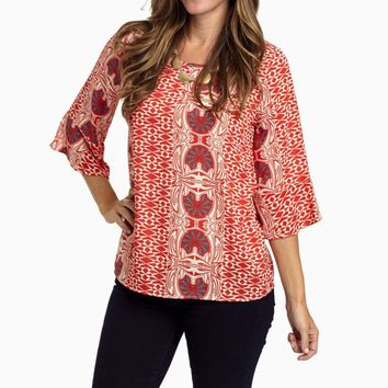 Red-Teal-Geometric-Printed-3/4-Sleeve-Chiffon-Blouse