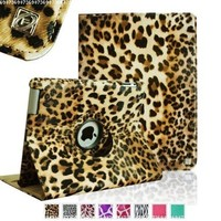 Fintie Apple iPad 2/3/4 Case - 360 Degree Rotating Stand Smart Case Cover for iPad with Retina Display (iPad 4th Generation), the new iPad 3 & iPad 2 (Automatic Wake/Sleep Feature) - Leopard Brown:Amazon:Computers & Accessories